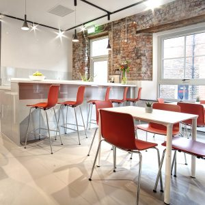 Thinking big about smaller offices: cafe / kitchen